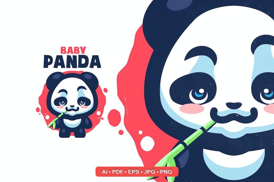 Cute Baby Panda Mascot Logo