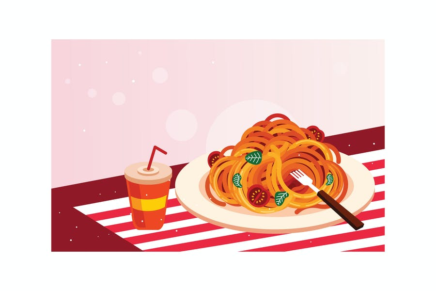 Delicious spaghetti with drink