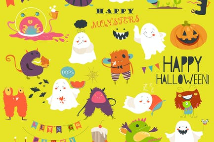 Funny cartoon ghosts and monsters halloween.
