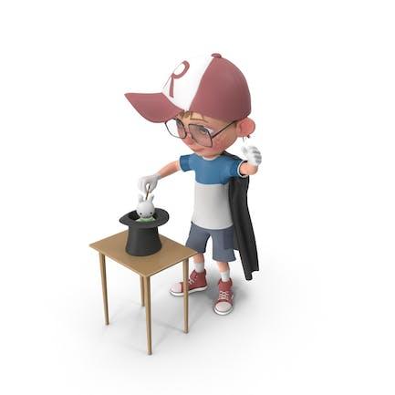 Cartoon Junge Harry Durchführung Ein Hut Trick
