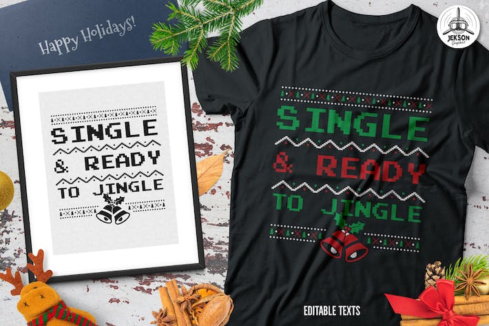 Cover Image For Christmas Jingle Sweater T-Shirt Xmas Retro Party