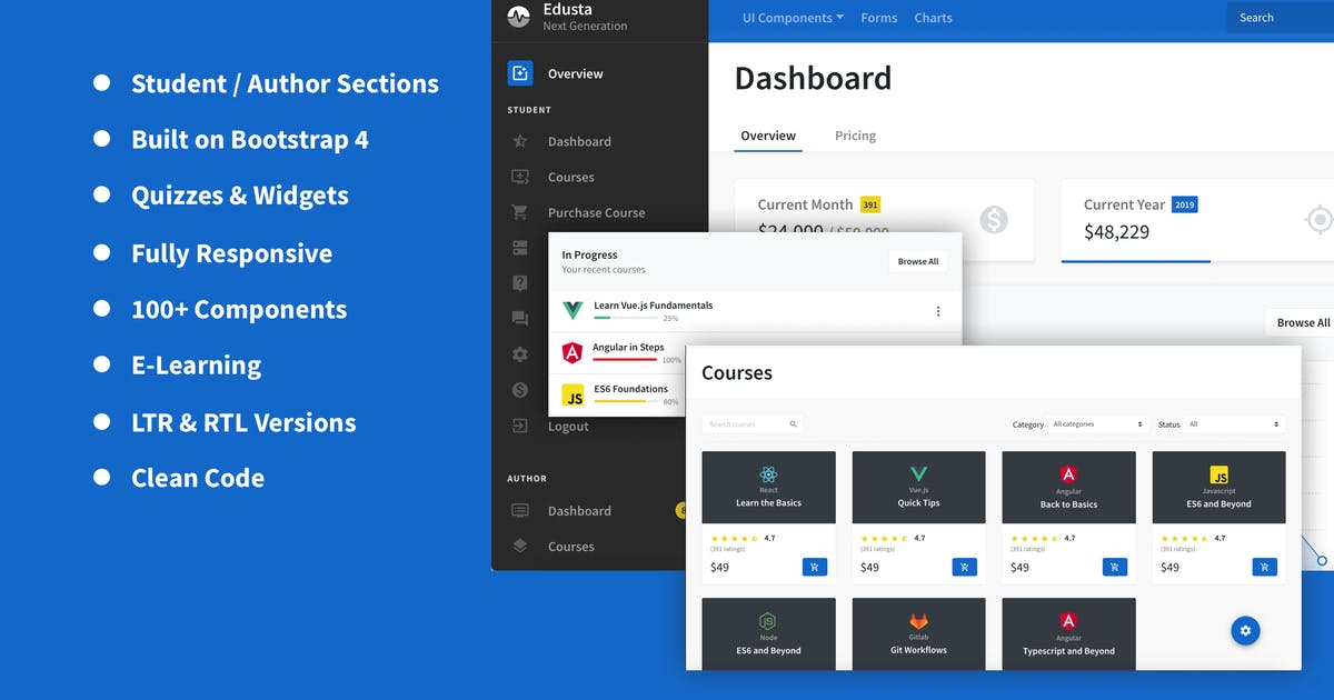 Download Learning Dashboard Template by Frontted