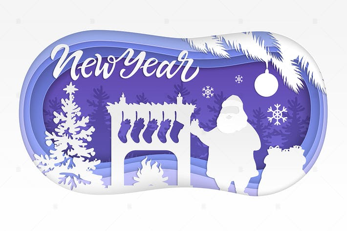 Thumbnail for New Year - modern vector paper cut illustration