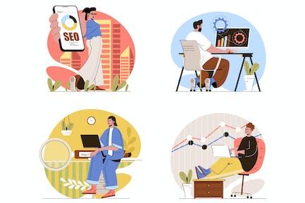 Seo Optimization - Juego de Ilustraciones línea plana