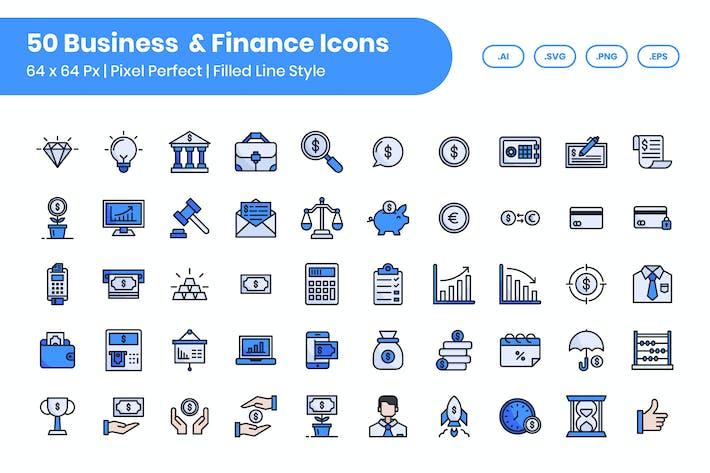 Thumbnail for 50 Geschäft & Finanzen - gefüllte Linie