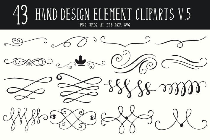 40+ Hand Design Element Cliparts Ver. 5