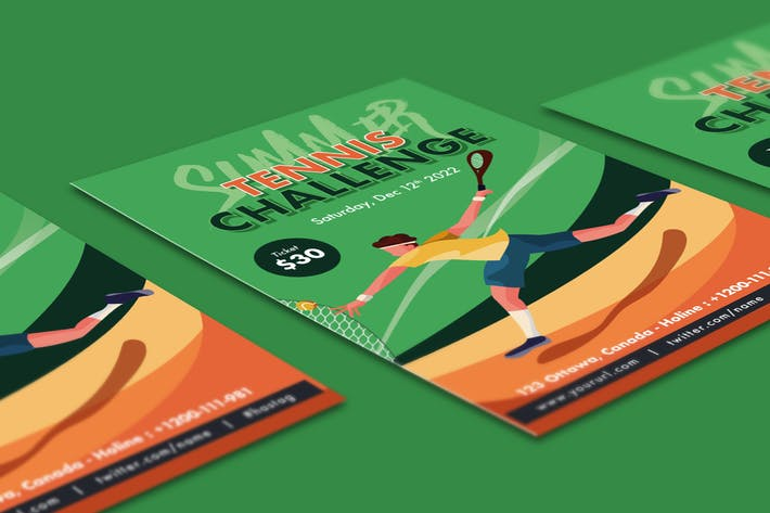 Thumbnail for Tennis Challenge Flyer Illustrator Template