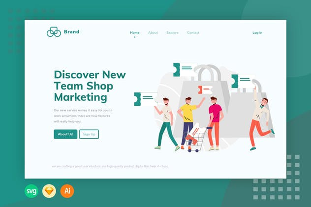 E-Commerce Team Ticket -  Illustration Web Header