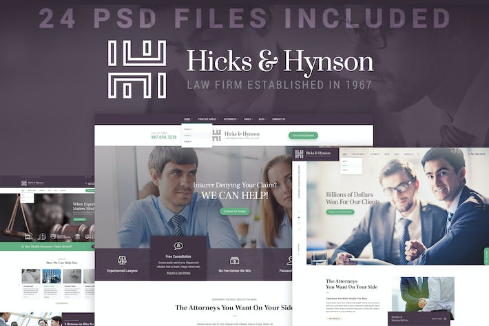 Thumbnail for Hicks & Hynson - Law Firm/Attorney PSD Template