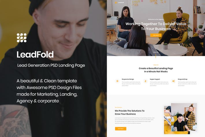 Thumbnail for LeadFold - Lead Generation PSD Landing Page