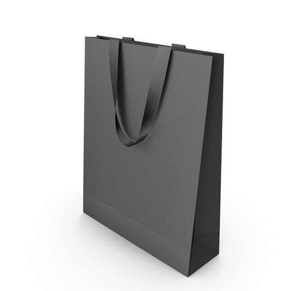 Черная бумажная сумка с черными ручками