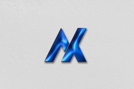 Blue glossy logo mockup