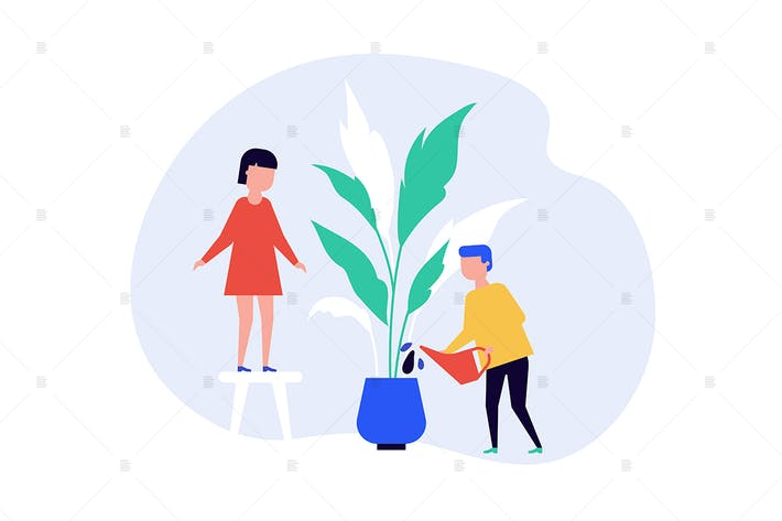 Children watering houseplant flat illustration