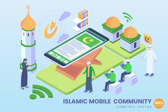 Thumbnail for Isometric Islamic Mobile Community Vector Concept