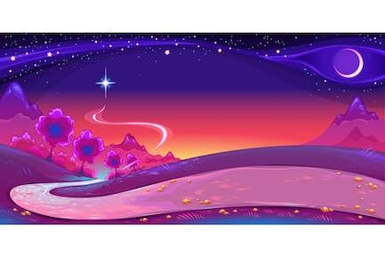 Nachtlandschaft mit einem großen Stern in den Himmel