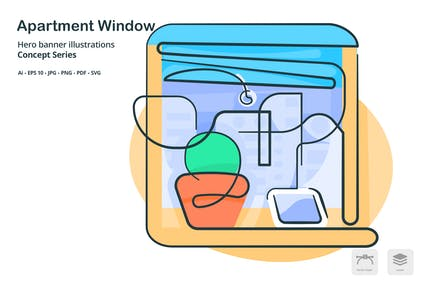 Apartment Window Vector Illustration