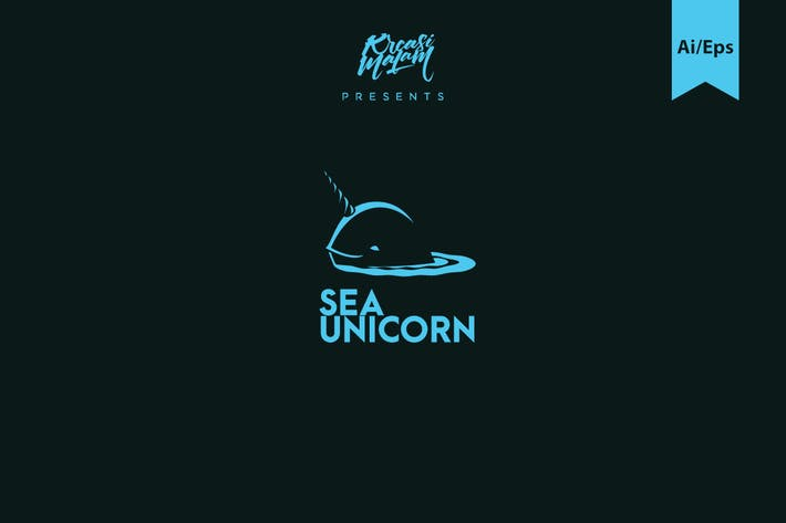 Sea Unicorn Logo Template