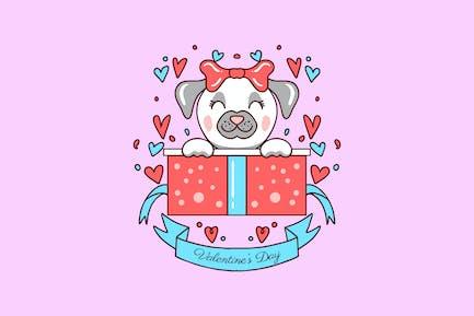 perro en caja de regalo día de San Valentín