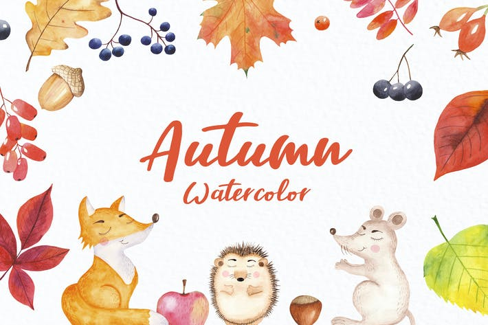 Thumbnail for Watercolor Autumn and forest animals