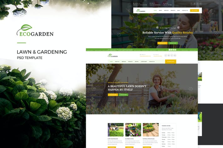 Cover Image For Eco Garden : Lawn & Gardening PSD Template