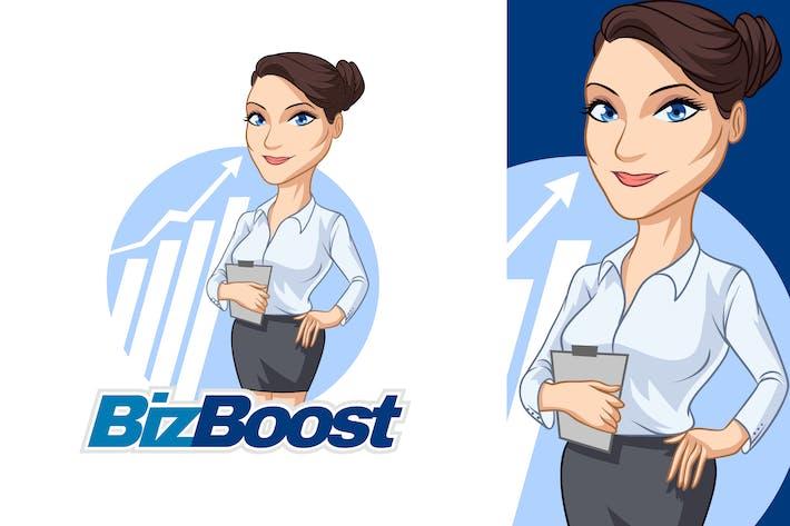 Friendly Young Businesswoman Mascot Logo