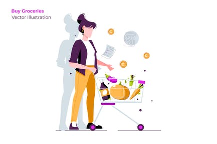 Buy Groceries - Vector Illustration