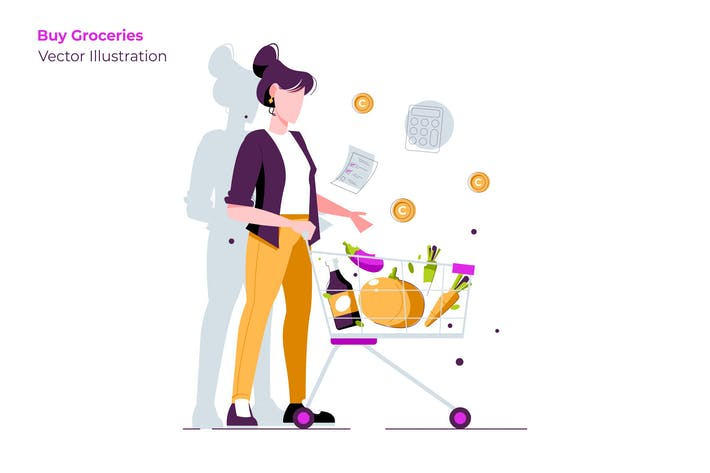 Thumbnail for Buy Groceries - Vector Illustration