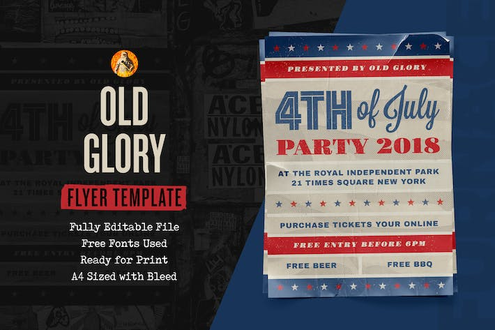 Thumbnail for Old Glory Fourth of July Event — Flyer Template