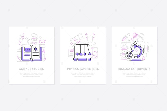 Thumbnail for Science and education - line design style banners