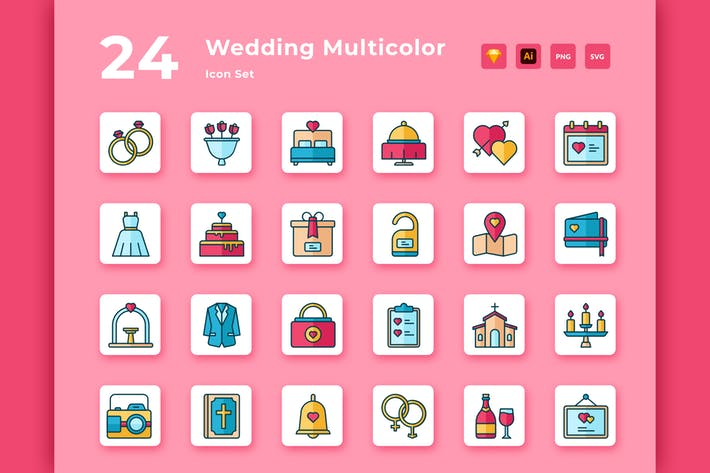 Thumbnail for 24 Wedding Multicolor Icon Pack