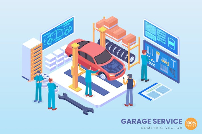 Thumbnail for Isometric Automobile Garage Service Vector Concept