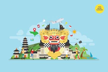 Bali Tropical Island Tourist Attraction Vector Con