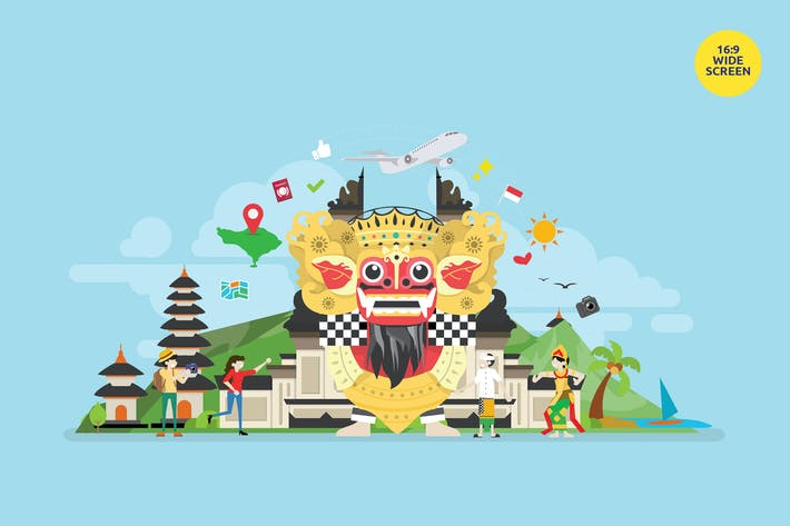 Cover Image For Bali Tropical Island Tourist Attraction Vector Con