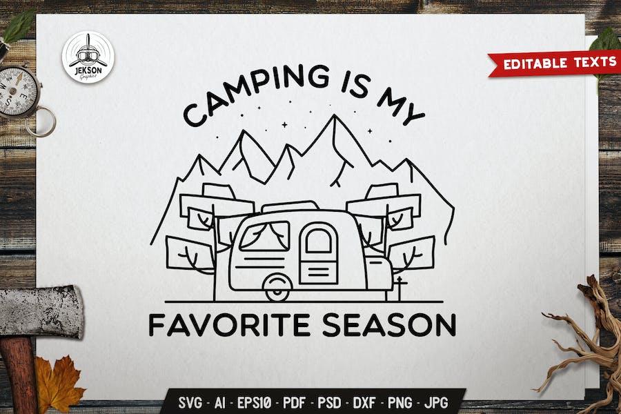 Camping Line Art Logo Design. Hiking Badge