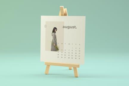 Wood Easel Desk Calendar Mockup