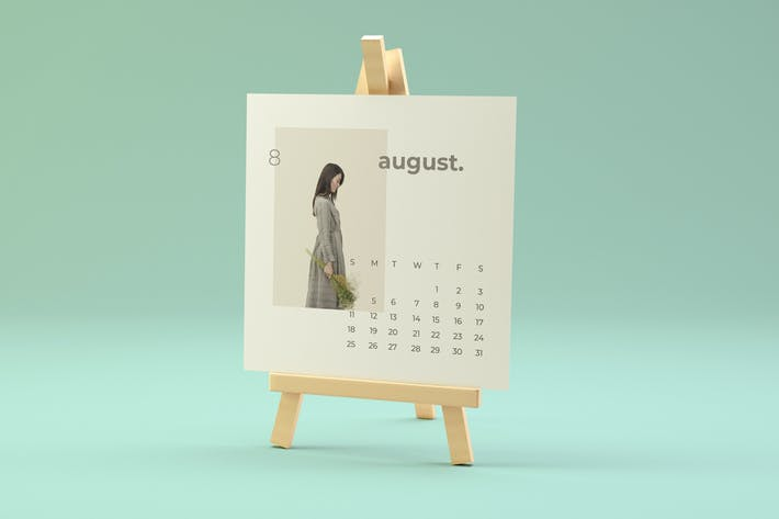 Thumbnail for Wood Easel Desk Calendar Mockup