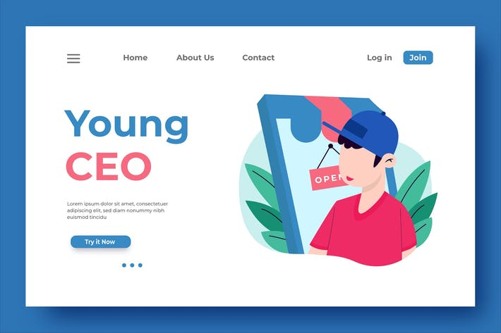 Thumbnail for Young CEO Landing Page Illustration