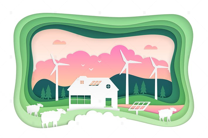Thumbnail for Eco farming - modern vector paper cut illustration