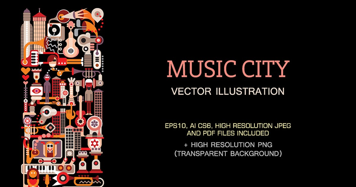 Download Music City vector illustration by danjazzia