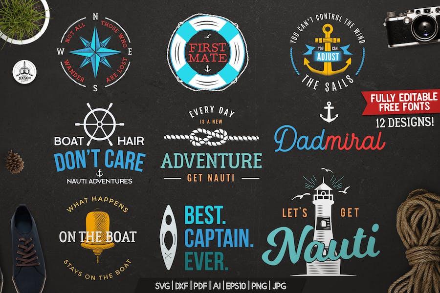 Retro Nautical Badges Set, Travel Label, Prints