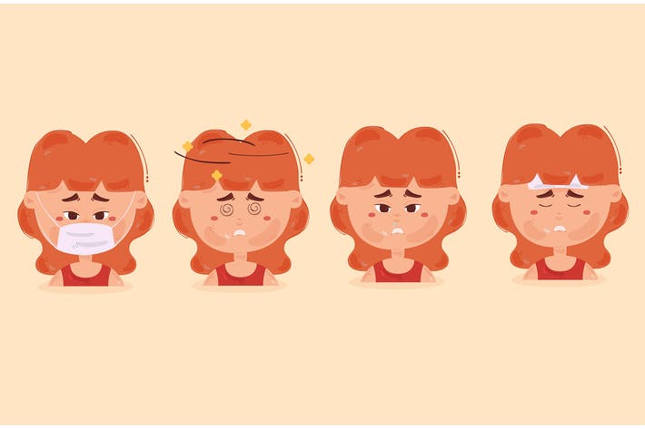 Sick Girl Character Illustration