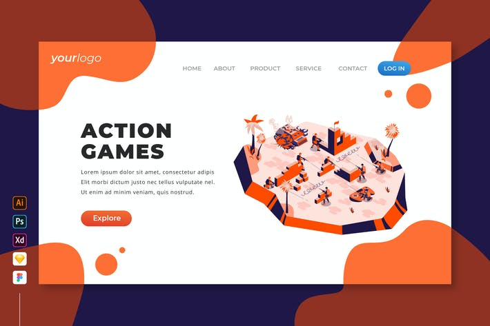 Action Games - Isometric Landing Page