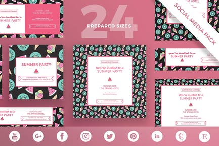 Summer Party Social Media Pack Template