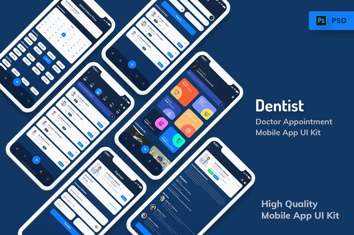 Thumbnail for Dentist Appointment Mobile App Dark Version