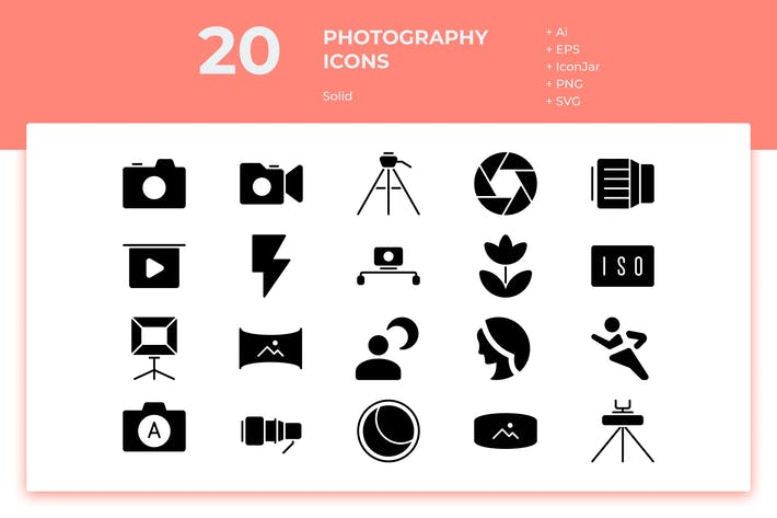 Thumbnail for 20 Photography Icons (Solid)