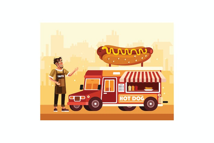 Thumbnail for Hot Dog Street Food Truck with a Seller
