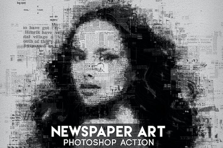 Thumbnail for Newspaper Art Photoshop Action