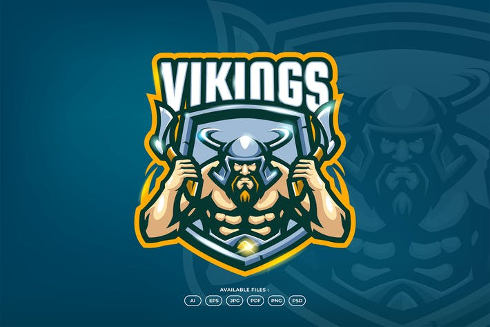 Thumbnail for Viking Warrior Barbarian Axe Battle Logo Template