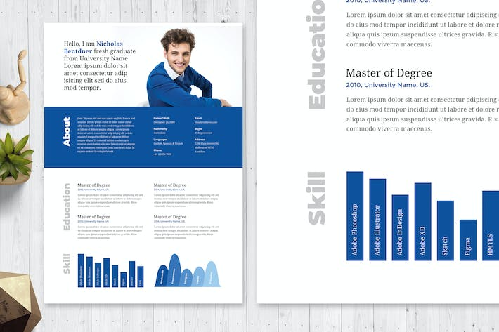 Thumbnail for Minimal Blue Resume / CV Template 53