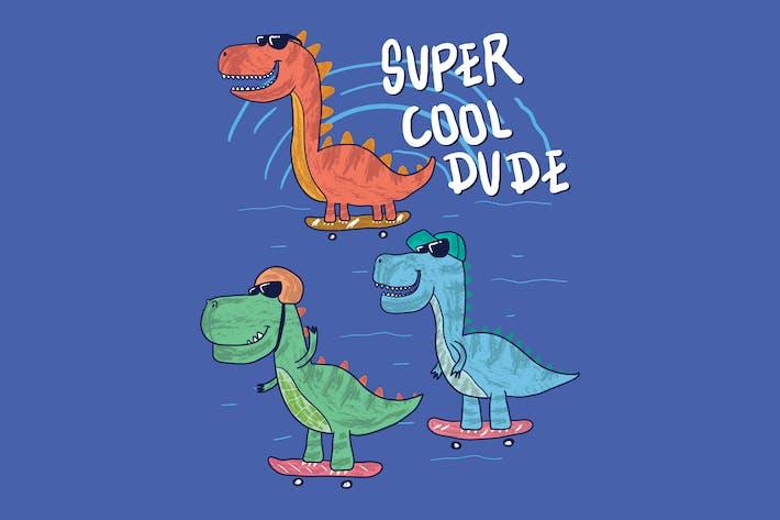 Thumbnail for cute dinosaur playing skateboard